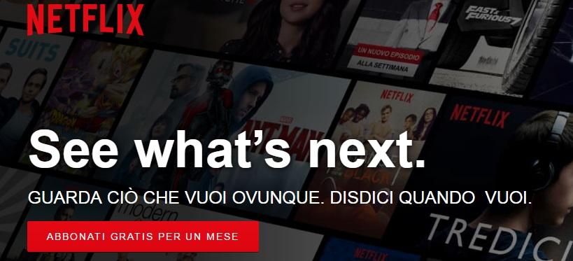 Netflix pagina iniziale